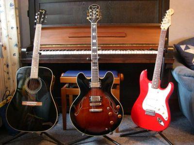 My guitars: Fender DG18, Epiphone Sheraton, Fender Stratocaster